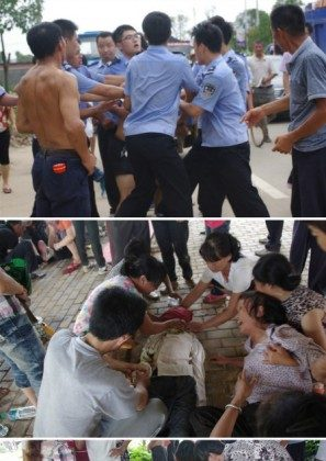 Photos uploaded on the Tencent microblogging site show family members gathered around purportedly children who died after drowning in a river in the Chinese city of Fuzhou. Other photos show police apparently attacking crowds of people who gathered. (Tencent QQ)