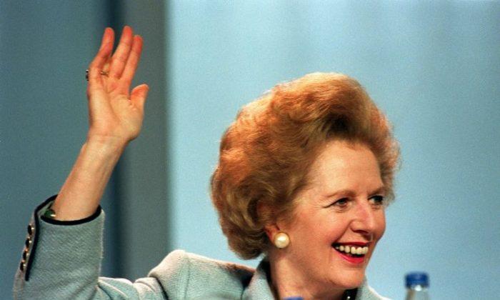 British Prime Minister Margaret Thatcher, 10 October, 1989. (Johhny Eggitt/AFP/Getty Images)