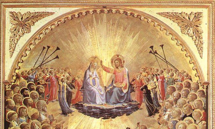 "Fra Angelico (1387–1455), ""The Coronation of the Virgin,"" tempera on wood, 1430–1435, Galleria degli Uffizi (Florence, Italy). (Artrenewal.com)"
