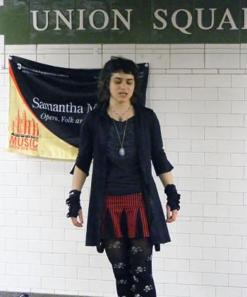 SUBWAY STAR: Samantha Margulies performs at the Union Square subway station. (Gidon Belmaker/ The Epoch Times)