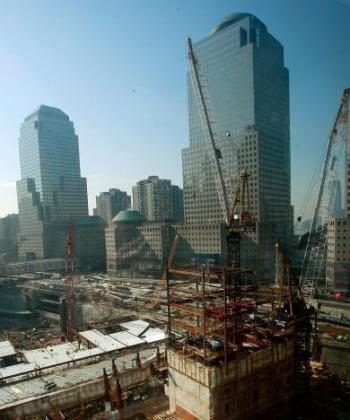 Work continues on the core of 1 World Trade Center (Bottom R), the Freedom Tower, which is being constructed at ground zero on February 11, 2009 in New York City.  (Mario Tama/Getty Images)