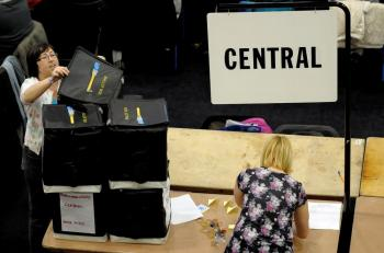 Votes are counted at Ponds Forge International Hall in the Sheffield Hallam constituency of Liberal Democrats leader Nick Clegg on May 6. (Laurence Griffiths/Getty Images)