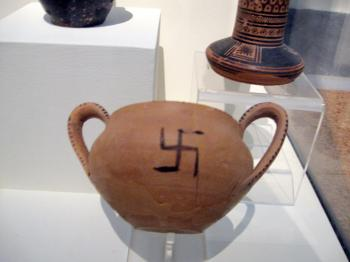An example of a piece of pottery that bears the swastika resides in the National Archeological Museum in Athens. (Neli Magdalini Sfigopoulou/The Epoch Times)