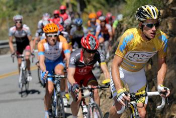 (R-L) Michael Rogers rides ahead of Levi Leipheimer and David Zabriskie up Mulholland Highway during Stage Eight of the 2010 Amgen Tour of California. (Doug Pensinger/Getty Images)