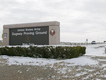 Utah Lockdown: The lockdown at the US Army's Dugway Proving Ground in Utah ended Thursday morning, according to reports. In this 2001 photo, a a truck approaches the main gate of the base. (George Frey/AFP/Getty Images)