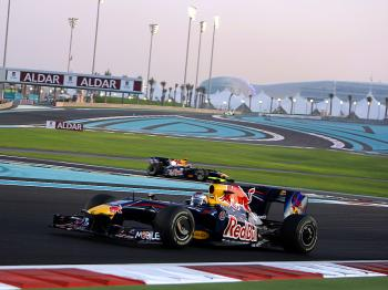 Red Bull's Sebastian Vettel leads of teammate Mark Webber at the Yas Marina Circuit on November 1, 2009 in Abu Dhabi, during the Abu Dhabi Formula One Grand Prix. (Karim Sahib/AFP/Getty Images)