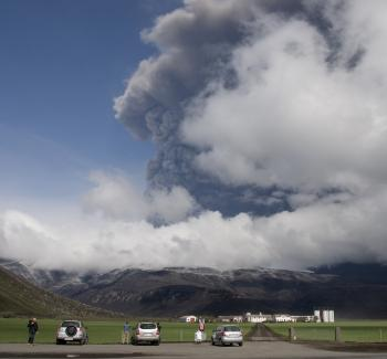New ash clouds blasted out from Iceland's Eyjafjoell volcano brought fresh travel chaos to thousands of air travellers on May 17, as key European airports shut down.  (Heidar Kristjansson/Getty Images)