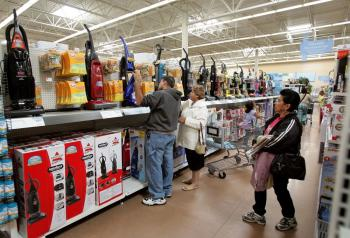 Shoppers at a Wal-Mart store  in Chicago, Illinois. The U.S. exported $4.1 billion of U.S.-made products to China in Jan. 2009, while it imported $24.8 billion Chinese-made products. (Tim Boyle/Getty Images)