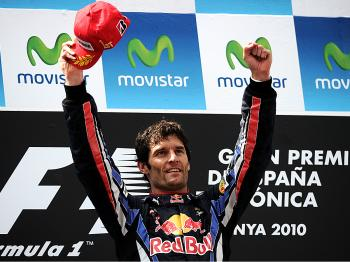 Red Bull's Mark Webber celebrates after the Formula One Grand Prix of Spain. (Fred Dufour/AFP/Getty Images)