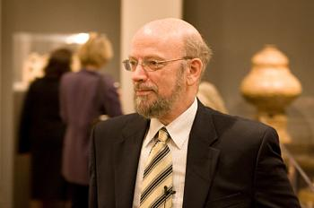 Guest curator David Anthony, Ph.D, speaks at the exhibition's opening event. (Jasper Fakkert/The Epoch Times)