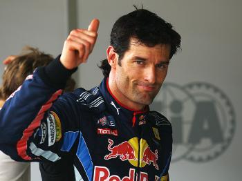 Mark Webber celebrates qualifying for the Turkish Formula One Grand Prix. (Vladimir Rys/Bongarts/Getty Images)