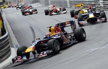 Mark Webber leads Sebastian Vettel and Robert Kubica at the start of the Formula One Monaco Grand Prix. (Fred Dufour/AFP/Getty Images)