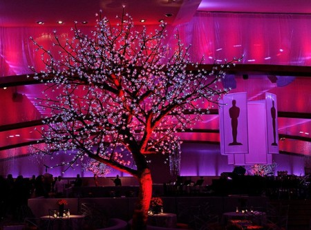 A general view shows a tree with lights at a preview of the 84th annual Academy Awards Governors Ball at the Hollywood & Highland Center on February 25, in Hollywood, Calif. (Ethan Miller/Getty Images)