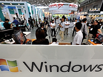 Microsoft displays Windows 7 at the Computex 2009 trade fair in Taipei on June 2, 2009. (Sam Yeh/AFP/Getty Images)