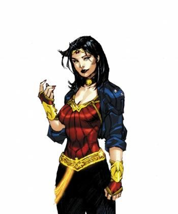 Wonder Woman's new change of clothes, designed by DC Comics co-publisher Jim Lee, the super-heroine has lost the swimsuit look as it is replaced with a more contemporary 'trendy' look to fit in modern day.   (Courtesy of DC comics)