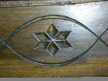 Star of David engraved in an old wooden cabinet in YMCA Jerusalem (Zeev Barkan)