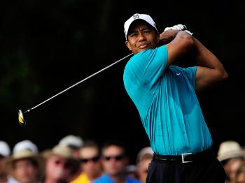 Tiger Woods plays his tee shot on the 12th hole during the second round of The Players Championship at TPC Sawgrass in Ponte Vedra Beach, Florida. (Sam Greenwood/Getty Images)