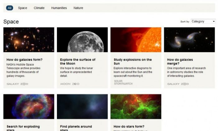 A screenshot of Zooniverse. (The Epoch Times)