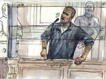 A court sketch made on February 10, 2009 at the Paris courthouse, shows French Yvan Colonna during the second day of his appeal's trial.   (Benoit Peyrucq/AFP/Getty Images)