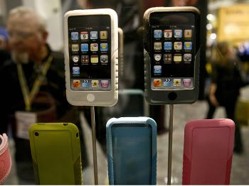 XtremeMac displays its line of protective iPhone shields during the Macworld Expo 2009 in San Francisco, Cal.   (Ryan Anson/AFP/Getty Images)