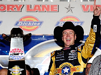 Kurt Busch, driver of the #2 Miller Lite Dodge, exults on victory lane after winning the NASCAR Sprint Cup Series Dickies 500 at Texas Motor Speedway on November 8, 2009 in Fort Worth, Texas. (Rusty Jarrett/Getty Images for NASCAR)