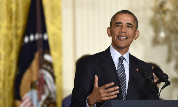 President Barack Obama speaks about his Clean Power Plan, Monday, Aug. 3, 2015, in the East Room at the White House in Washington. (AP Photo/Susan Walsh)