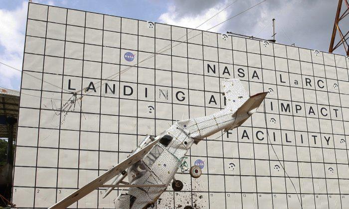 A drop test of the Cessna aircraft (NASA).