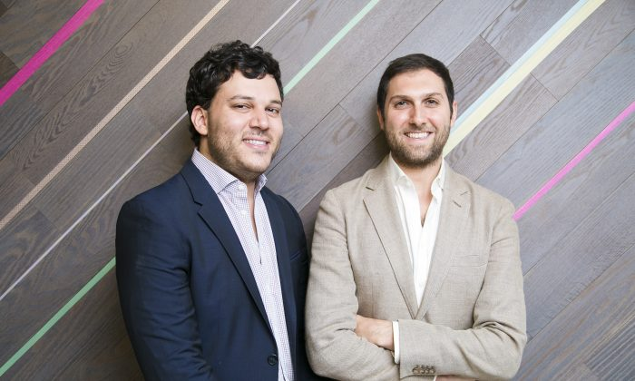 Vytaliz founders Dr. Amer Alnajar (L) and Omar Elrabie in the Financial District of Manhattan on Aug. 5. (Samira Bouaou/Epoch Times)
