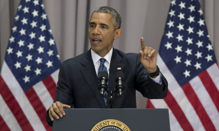 President Barack Obama speaks about the nuclear deal with Iran at American University in Washington on Wednesday, Aug. 5, 2015. The president said the nuclear deal with Iran builds on the tradition of strong diplomacy that won the Cold War without firing any shots. (AP Photo/Carolyn Kaster)