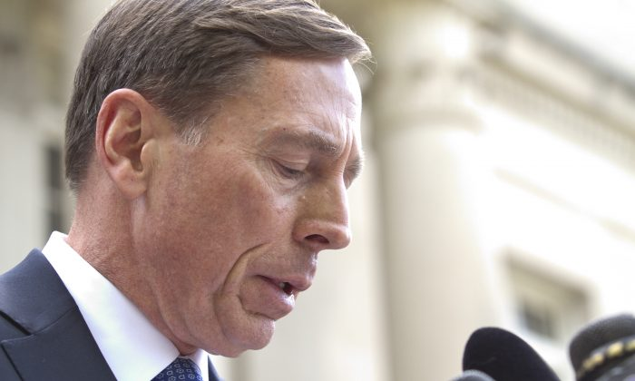 Former director of CIA and former commander of U.S. Forces in Afghanistan Gen. David Petraeus gives a speech after exiting the federal courthouse after facing criminal sentencing for giving classified information to his former mistress and biographer, in Charlotte, North Carolina, on April 23, 2015. (John W. Adkisson/Getty Images)