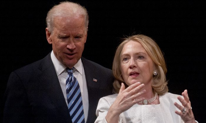 Joe Biden and Hillary Clinton in an April 2, 2013 file picture. (AFP/Getty Images)