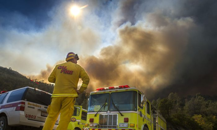 Dave Miinch, fire captain with South Lake County, watches a fire burn on the north side of U.S. Highway 20, Monday, August 3, 2015, in Yolo County, Calif. (Hector Amezcua/The Sacramento Bee via AP)
