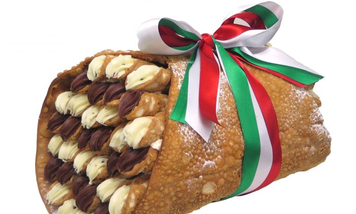 Mezzapica's 'Giant Cannolo' can fit up to 60 smaller cannoli inside. (Courtesy of Mezzapica Cakes)