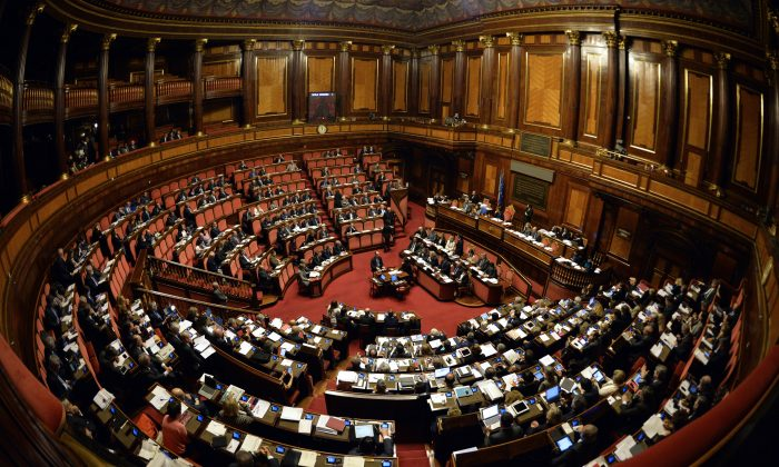 General view of the Italian Upper House of Parliament on April 22, 2015. (Andreas Solaro/AFP/Getty Images)