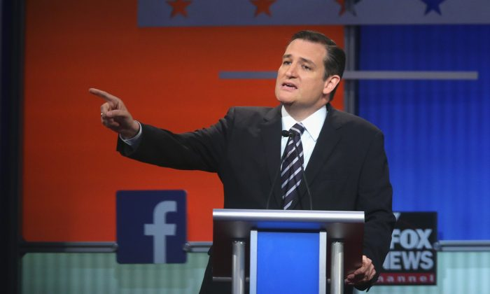 Republican presidential candidate Sen. Ted Cruz (R-TX) , here at the recent GOP debate, told supporters at the Red State Gathering of things he'd do on the first day of his term if he was elected president. (Scott Olson/Getty Images)