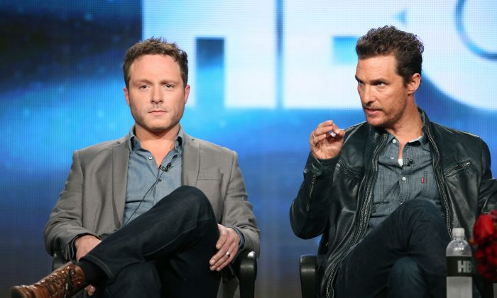 Executive Producer/Writer Nic Pizzolatto and actor Matthew McConaughey speak onstage during the 'True Detective' panel discussion at the HBO portion of the 2014  Winter Television Critics Association tour at the Langham Hotel on January 9, 2014 in Pasadena, California.  (Frederick M. Brown/Getty Images)