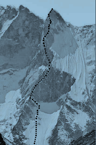 The Shark's Fin route marked on Mount Meru.