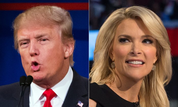 This combination made from Aug. 6, 2015 photos shows Republican presidential candidate Donald Trump, left, and Fox News Channel host and moderator Megyn Kelly during the first Republican presidential debate at the Quicken Loans Arena, in Cleveland.  (AP Photo/John Minchillo)