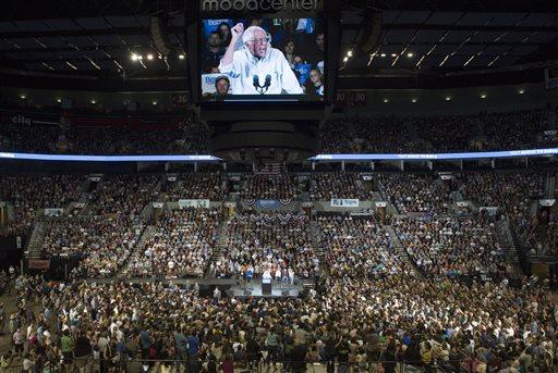 Democratic presidential candidate Sen. Bernie Sanders, I-Vt., speaks at a rally, Sunday, Aug. 9, 2015, at the Moda Center in Portland, Ore. (AP Photo/Troy Wayrynen)