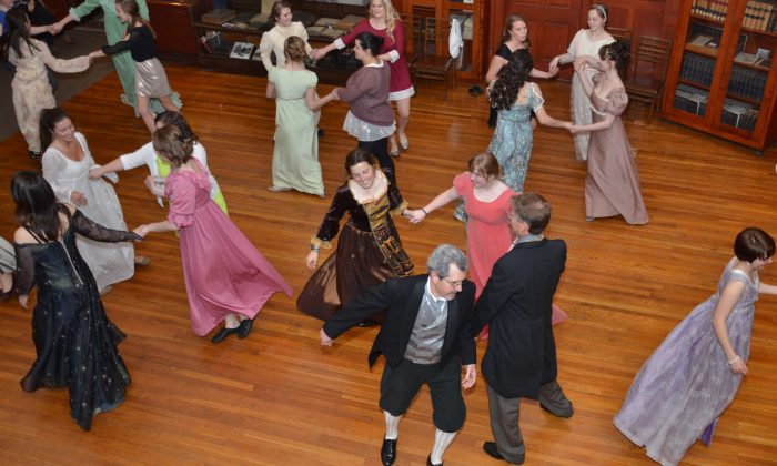 The Jane Austen Ball held annually for students in the English Country dance class at St. Mary's College. (Courtesy of Rosalind Clark)
