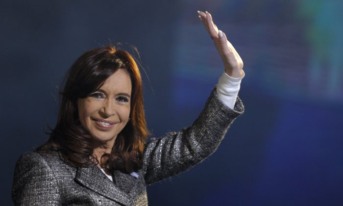 Argentine President Cristina Fernandez de Kirchner during a ceremony to commemorate the 205th anniversary of the May Revolution, at Plaza de Mayo square, in Buenos Aires, on May 25, 2015. An uprising on May 25, 1810, at Argentina's capital main square, sparked a revolution that led to the country's independence from Spain years later. (Alejandro Pagni/AFP/Getty Images)