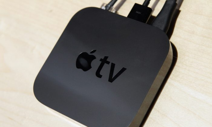 The new smaller version of Apple TV is displayed at an Apple Special Event at the Yerba Buena Center for the Arts September 1, 2010 in San Francisco, Calif. (Photo by Justin Sullivan/Getty Images)