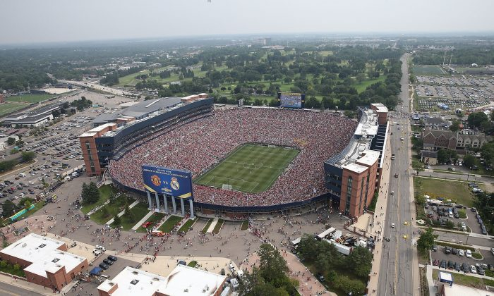 An aerial view of Michigan Stadium, where drones and seflie sticks are now prohibited. (Leon Halip/Getty Images)