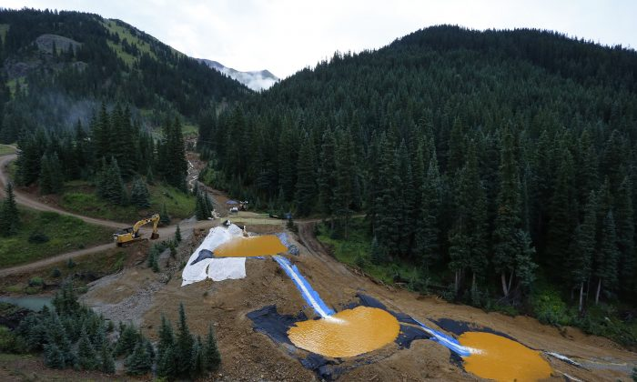 Water flows through a series of retention ponds built to contain and filter out heavy metals and chemicals from the Gold King mine wastewater accident, in the spillway about 1/4 mile downstream from the mine, outside Silverton, Colo., Wednesday, Aug. 12, 2015. (AP Photo/Brennan Linsley)