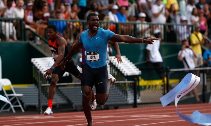 June 28, 2015 in Eugene, Oregon. Gatlin served a four-year suspension for doping. (Christian Petersen/Getty Images)