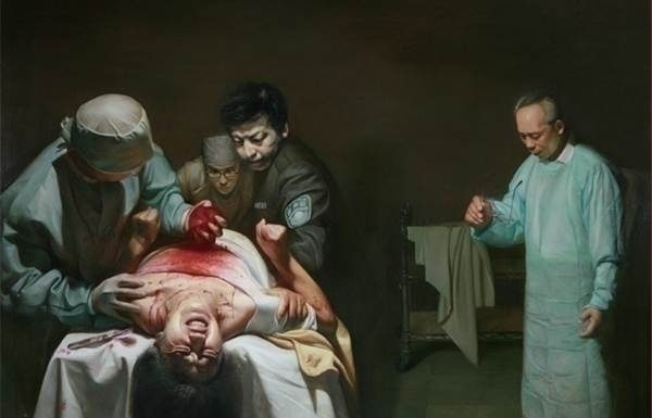 A painting shows Chinese police and doctors harvesting the organs of a living Falun Gong practitioner. Investigators believe thousands of Falun Gong adherents have had their organs harvested by Chinese authorities. (Minghui.org)