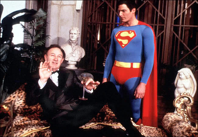 "Lex Luthor (Gene Hackman) and Superman (Christopher Reeve) in the blockbuster, ""Superman."" (Dovemead Films)"