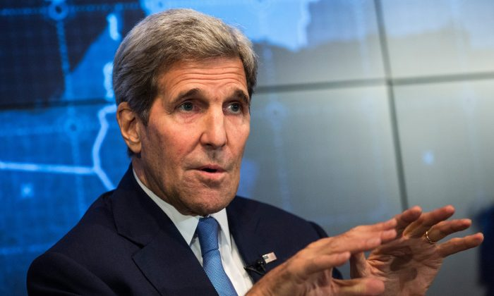 U.S. Secretary of State John Kerry speaks about the Iran Deal in New York City on Aug. 11, 2015. (Andrew Burton/Getty Images)