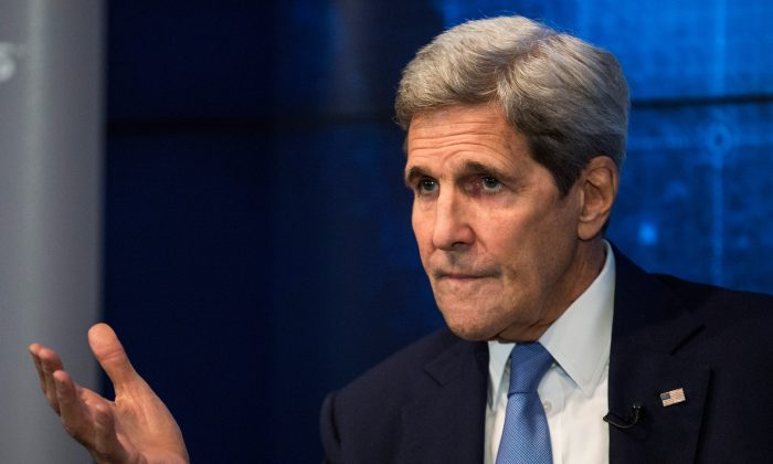 U.S. Secretary of State John Kerry speaks about the Iran Deal in New York on Aug. 11, 2015. (Andrew Burton/Getty Images)