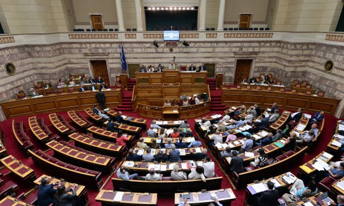 A general view shows a debate of Greek parliament commissions prior to a plenary session in Athens on August 13, 2015. (Louisa Gouliamaki  /AFP/Getty Images)